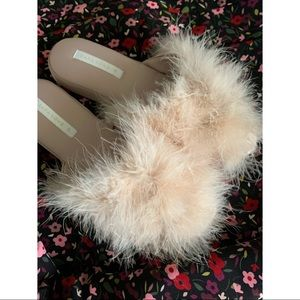 🐻 Zara Home Pink Fluffy Feather Slippers 🐻